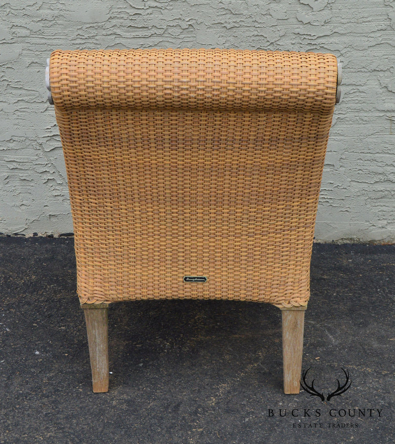 Brown Jordan Tommy Bahama Teak and Outdoor Wicker Pair Patio Armchairs (A)
