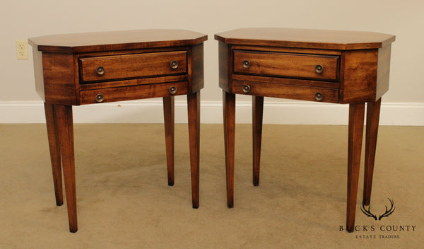 Globe Furniture Hepplewhite Style Vintage Pair Cherry 2 Drawer Nightstands