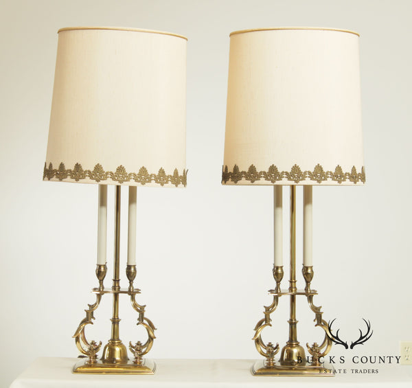 Stiffel Hollywood Regency Vintage Pair Brass Table Lamps