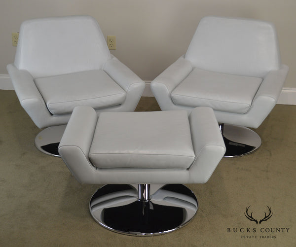 DellaRobbia Modern Design Pair Pale Blue Leather Swivel Lounge Chairs with Ottoman