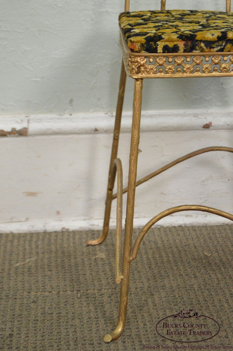 Antique Gilt Metal Faux Bois Aesthetic Side Chair