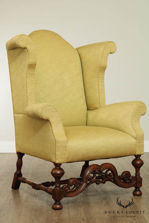 Kittinger 1930's Jacobean Revival Vintage Walnut Wing Chair
