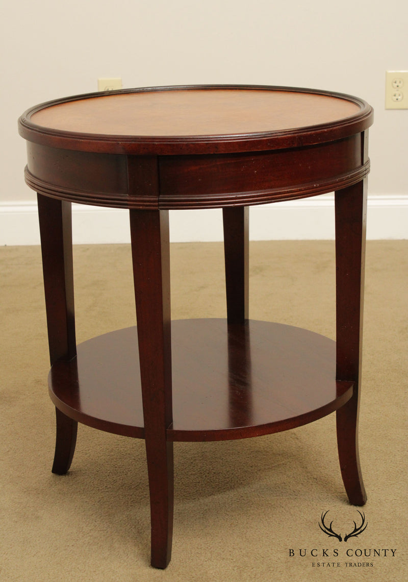 Baker Milling Road Round Mahogany & Burlwood One Drawer Side Table