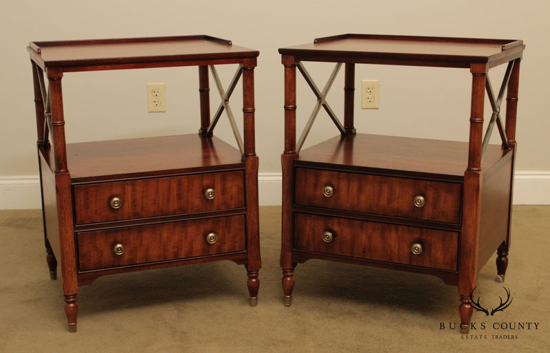 Ethan Allen Newport Collection Mahogany Pair Eugene Nightstands