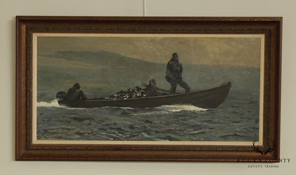 Chet Reneson (B. 1934 Connecticut) Untitled Oil Painting Men Duck Hunting on Boat