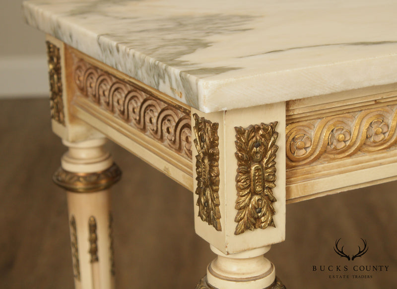 French Louis XVI Style Vintage Cream Painted Narrow Marble Top Console
