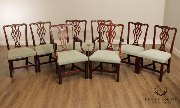 Chippendale Style Custom Quality Set 8 Mahogany Dining Chairs