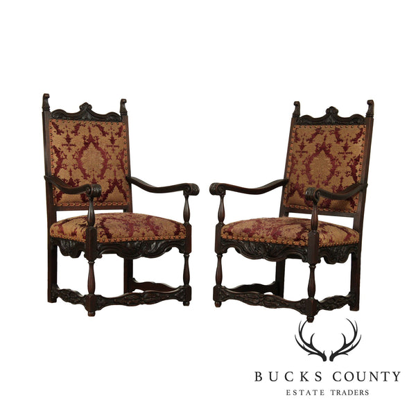 Italian Renaissance Revival Antique Pair Carved Oak Armchairs