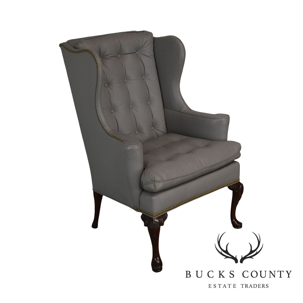 Fine Hickory Chair Co Grey Tufted Leather Mahogany Queen Anne Wing Chair Creativecarmelina Interior Chair Design Creativecarmelinacom