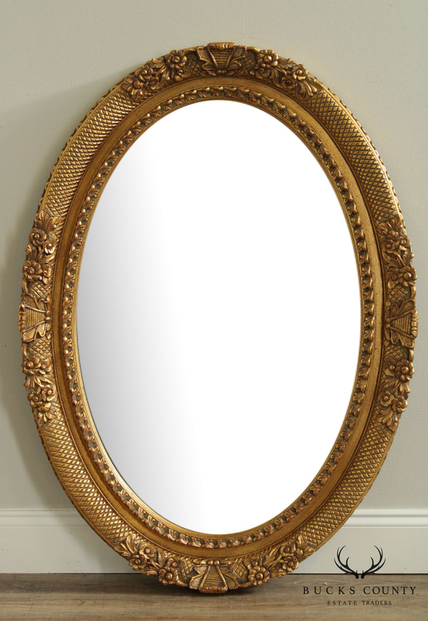 Oval Gilt Carved Beveled Wall Mirror