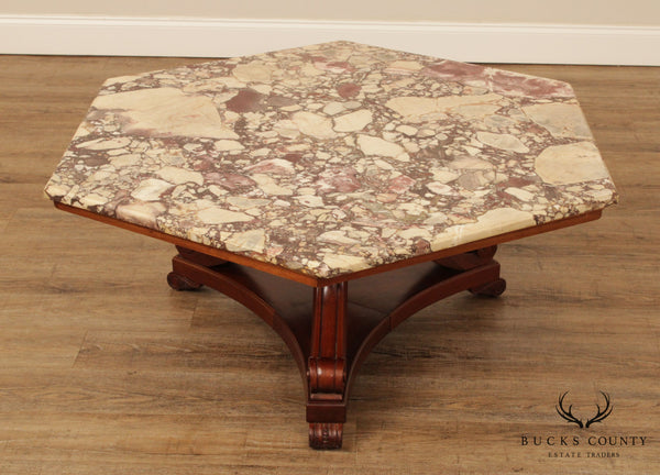 Empire Revival Vintage Mahogany Hexagon Marble Top Coffee Table