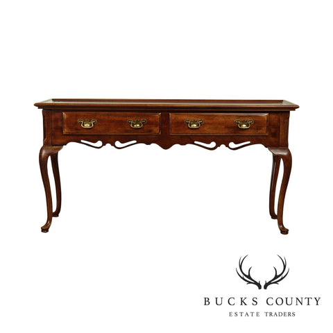 Queen Anne Style Vintage 2 Drawer Console Table