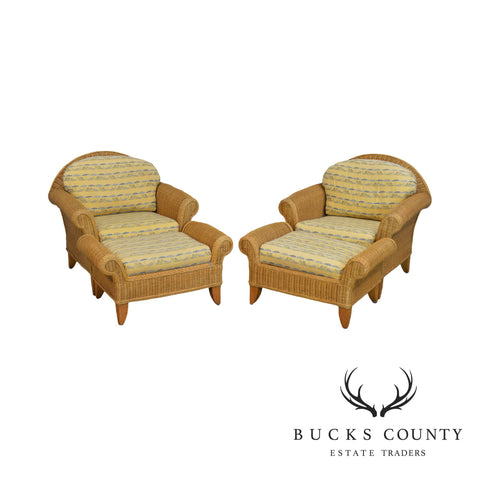 Henry Link Wicker Pair of Lounge Chairs with Ottomans