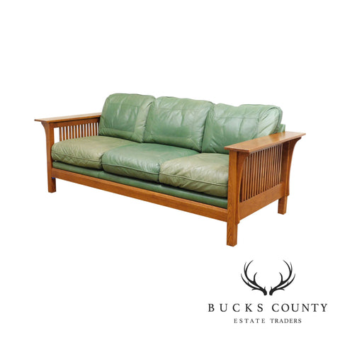 Custom Mission Oak Green Leather Spindle Sofa
