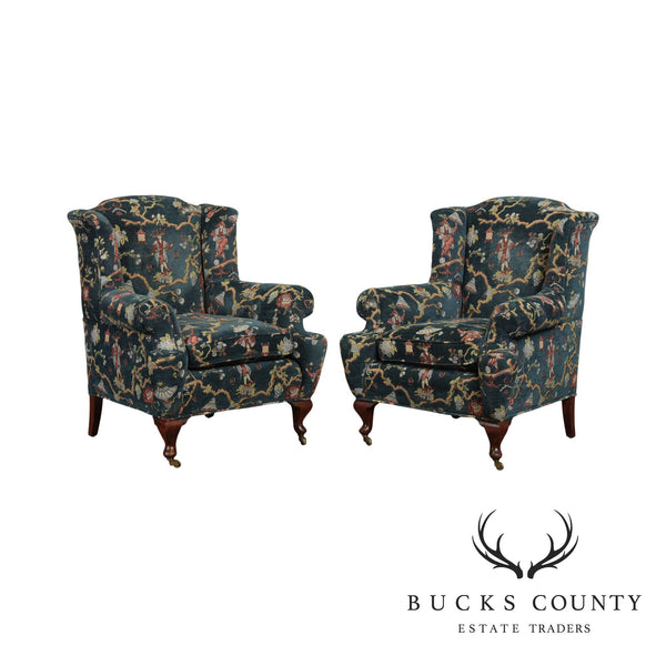 Custom Chinoiserie Upholstered Vintage Pair English Club Chairs