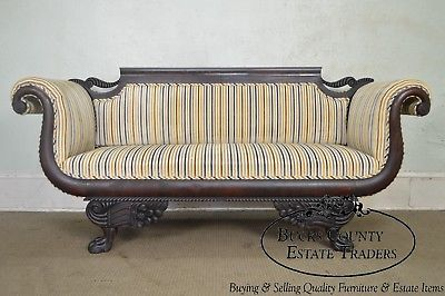 Antique 19th Century Classical Carved Mahogany Duncan Phyfe Style Sofa