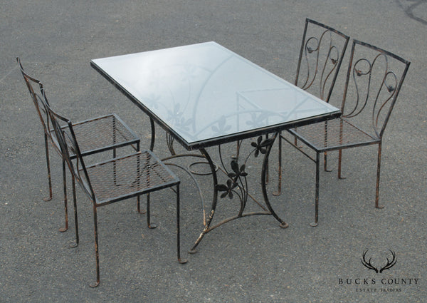 Salterini Vintage Wrought Iron Garden Table + 4 Chairs Dining Set
