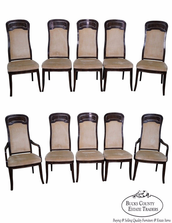 Mastercraft Set of 10 Burl Amboyna Dining Chairs by Doezema