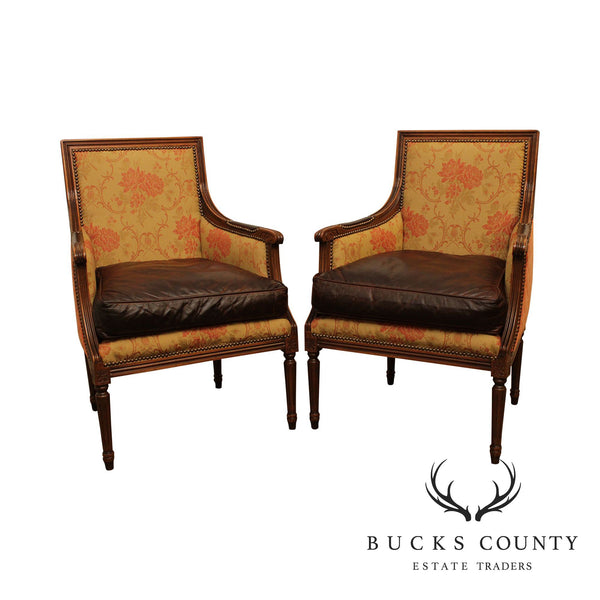 Old Hickory Tannery French Louis XVI Style Pair Leather Seat Armchairs, Bergere