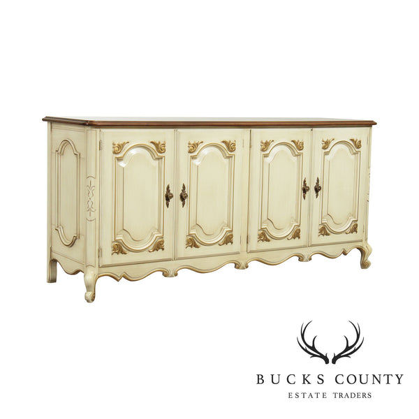 Union National French Louis XV Style Cream Painted Sideboard