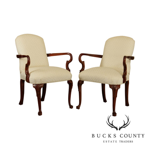 Pennsylvania House Pair Cherry Queen Anne Style Armchairs
