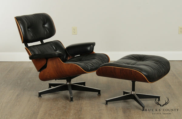1970's Herman Miller, Rosewood & Black Leather Eames Lounge Chair with Ottoman