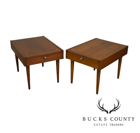 American of Martinsville Merton Gershun Mid Century Modern Pair Inlaid Walnut Side Tables