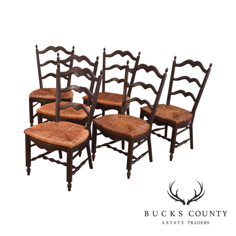 Drexel Heritage Belle Maison French Country Set 6 Black Painted Rush Seat Dining Chairs