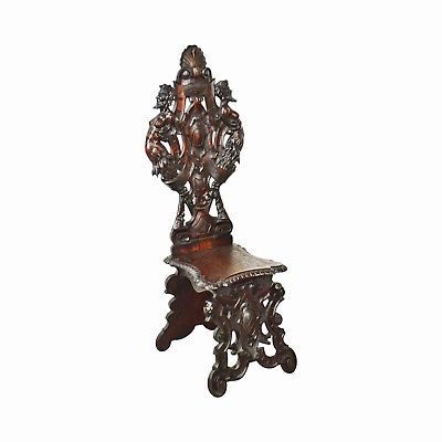 Antique 19th Century Victorian Carved Walnut Hall Chair w/Devil Heads