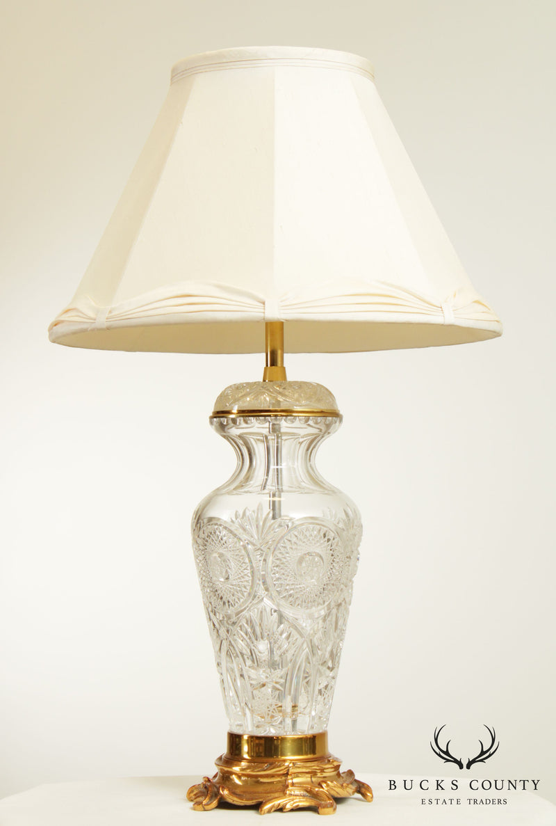 Marbro Cut Crystal and Brass Table Lamp
