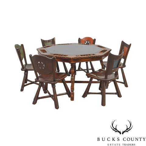Romweber Viking Oak vintage Poker Table & 6 Chairs Set