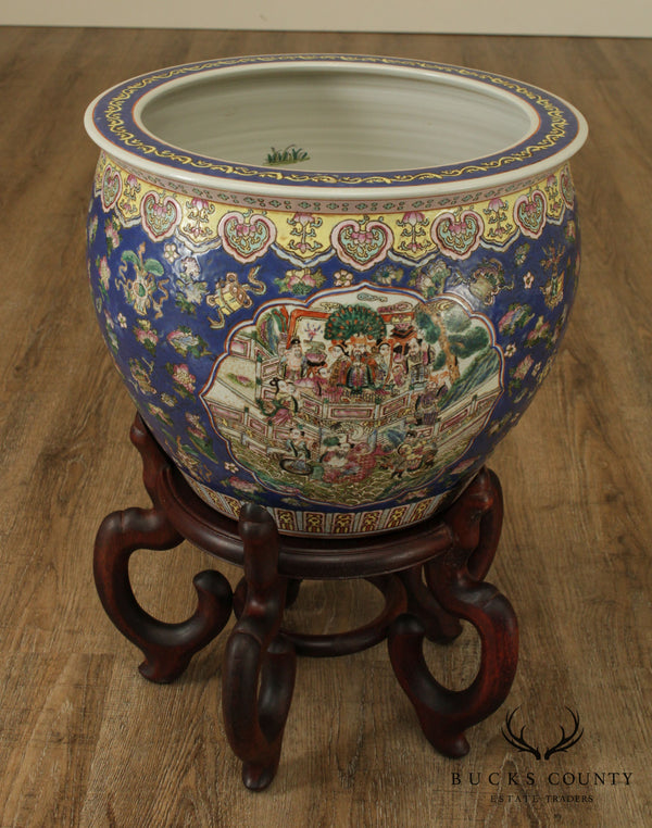 Chinese Porcelain Famille Rose Fishbowl Planter on Wood Stand