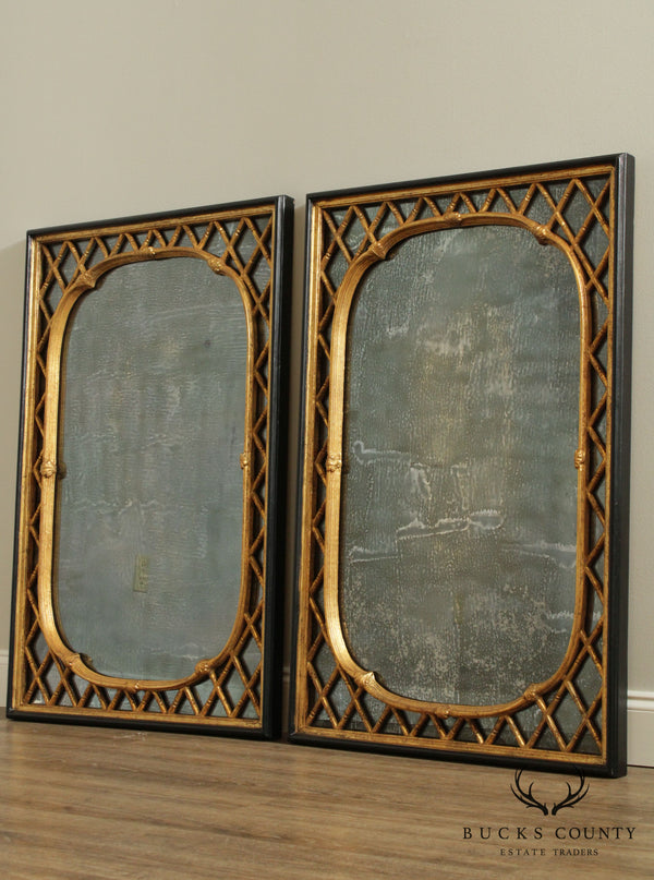Friedman Brothers Vintage Pair Regency Style Distressed Black & Gold Faux Bamboo Mirrors
