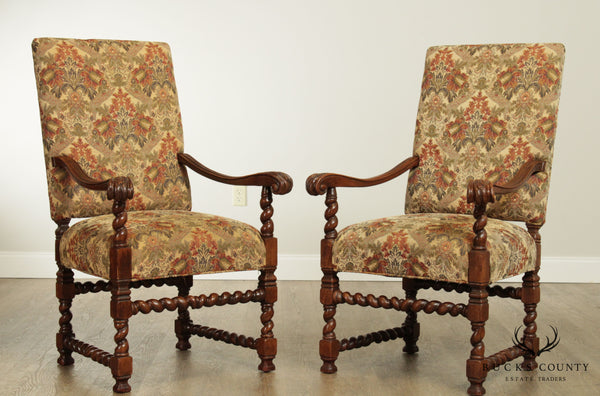French Louis XIII Style Quality Pair Barley Twist Armchairs