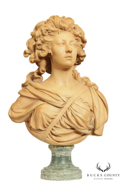 Antique Carved Terracotta Sculpture Female Bust on Marble Base