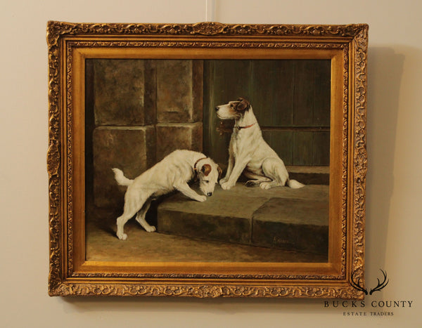 H. Hagel Oil Painting on Canvas of Parson Russell Terrior Dogs