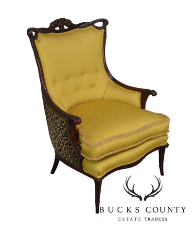 Grosfeld House 1940's Hollywood Regency Yellow and Leapord Print Carved Mahogany Fire Side Chair