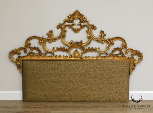 Rococo Style Elaborate Gold Gilt Metal Queen Size Headboard
