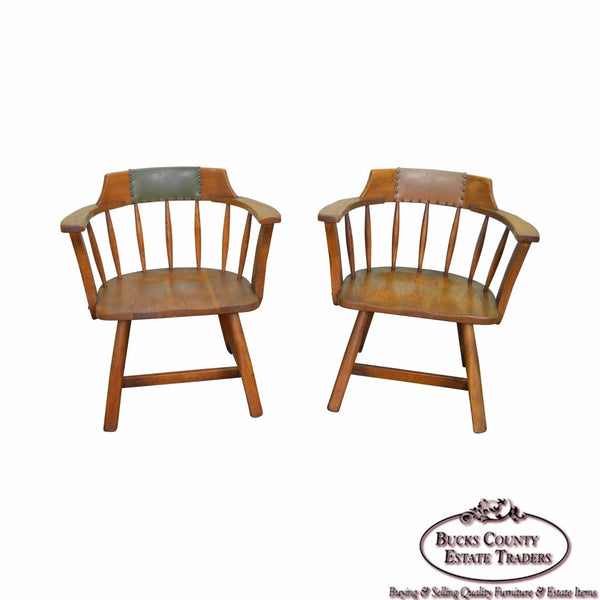 Jamestown Lounge Pair of Vintage Oak Rustic Barrel Back Arm Chairs