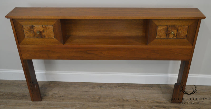 Mid Century Modern Walnut & Burlwood Full or Queen Sliding Door Bookcase Headboard