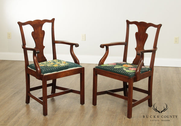 Chippendale Style Antique Mahogany Pair Armchairs