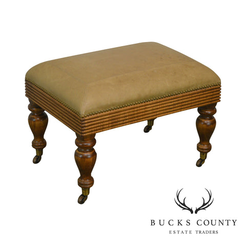 Regency Style Quality Tan Leather Ottoman