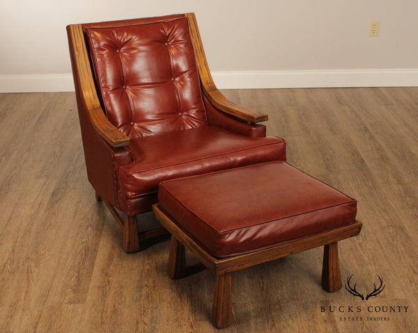 Brandt Ranch Oak Tufted Lounge Chair with Ottoman