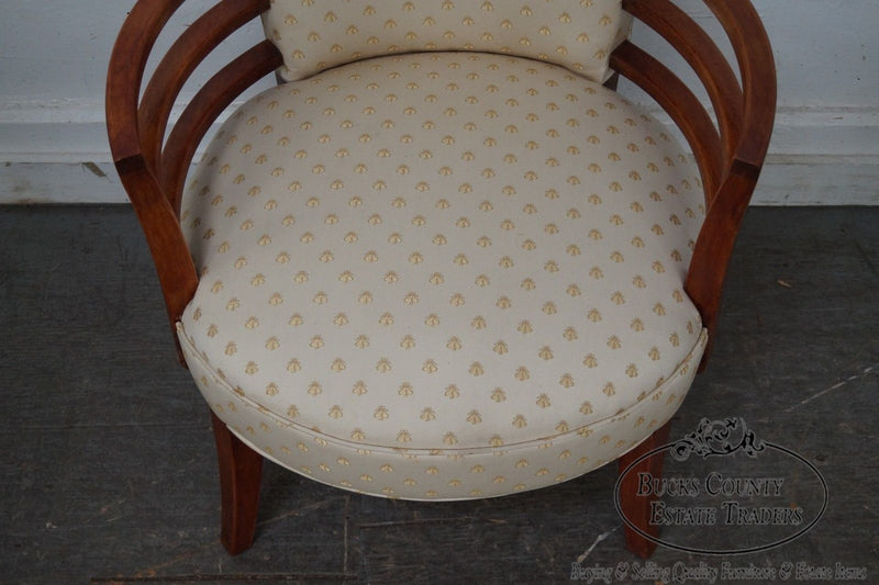 Mid Century Modern Pair of Rounded Robsjohn Gibbings Style Arm Chairs