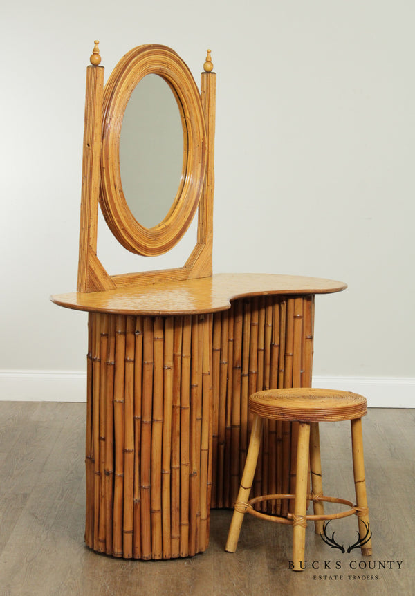 Vintage Bamboo Kidney Shape Vanity with Mirror, Stool