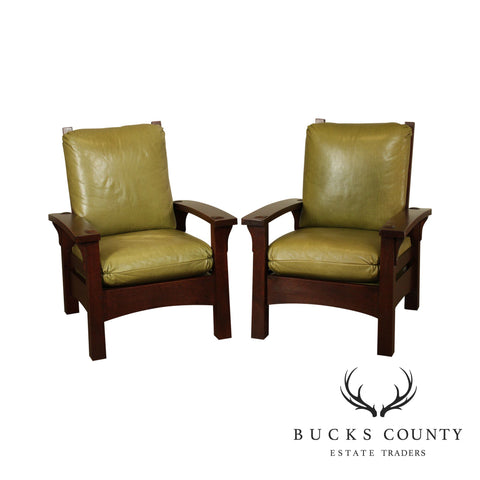 Stickley Mission Collection Oak Pair Gus Bow Arm Morris Chairs