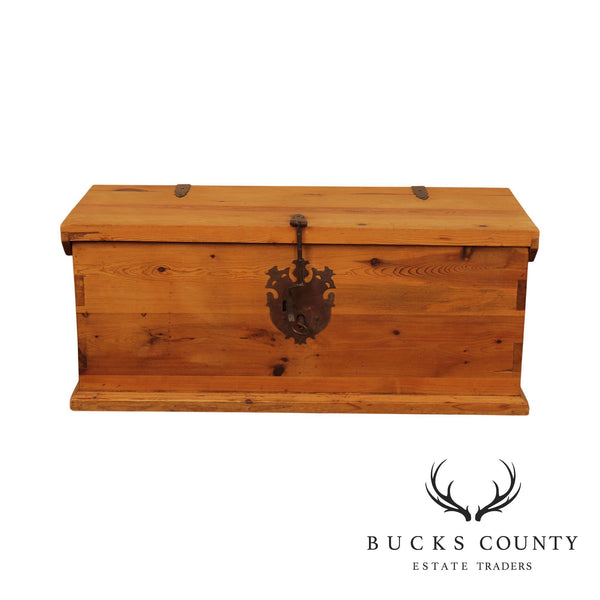 Rustic Pine Wood Dovetailed, Forged Iron Storage Chest