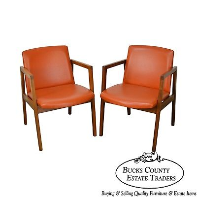 Adrian Pearsall Style Pair of Mid Century Modern Walnut Arm Chairs