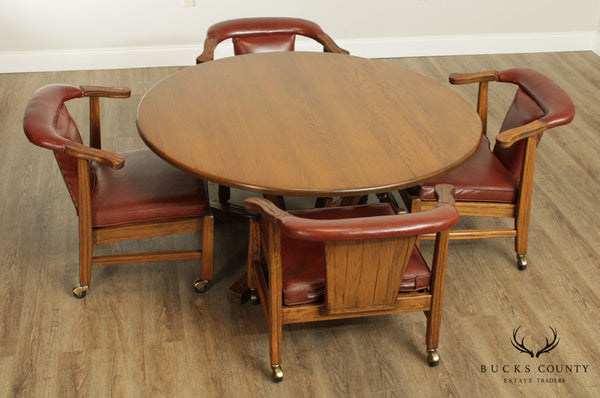 "Brandt Ranch Oak 54"" Round Dining Table Set With 4 Horshoe Back Armchairs"