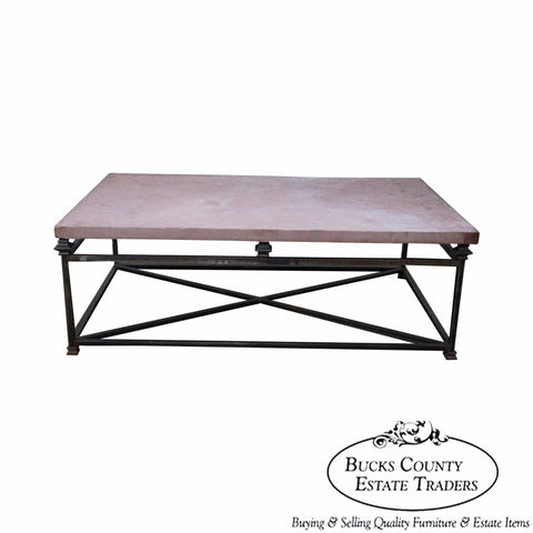 Quality Iron Base Coffee Table w/ Slate Top